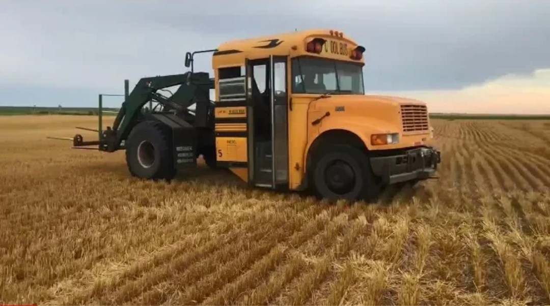 Converted School Bus Now High Speed Hay Bale Loader