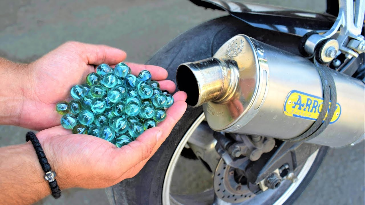 EXPERIMENT 100 MARBLES in MOTORCYCLE EXHAUST
